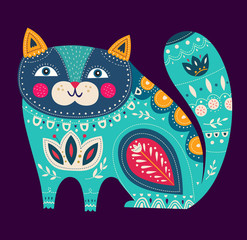 Panel Szklany Kot Beautiful decorative vector cat with dark background