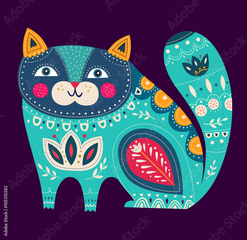 Beautiful decorative vector cat with dark background - 105310383