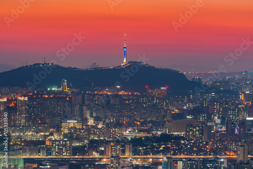 Seoul City Skyline, The best view of South Korea. Poster