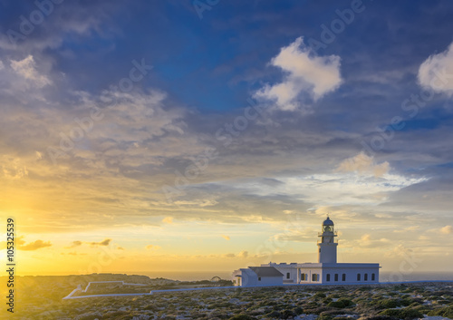 Montage in der Fensternische Leuchtturm lighthouse on the coast of Minorca