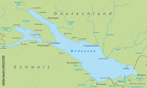 Der Bodensee Karte In Grun Buy This Stock Vector And Explore