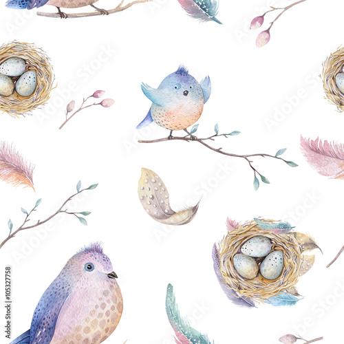 Materiał do szycia Rustykalny wzór akwarela wiosna z nest, ptaki, gałąź, drzewo