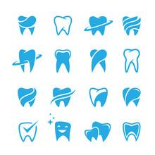Teeth Icon Set Isolated On Whi...