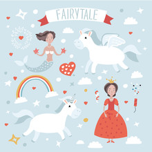 Illustration Set  Of Fairytale Characters