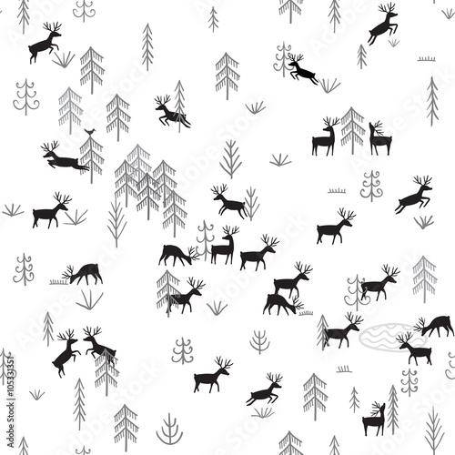 Cotton fabric Vector seamless pattern with wild forest life and deers