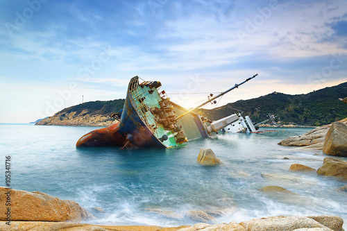 Acrylic Prints Shipwreck shipwreck or wrecked cargo ship abandoned