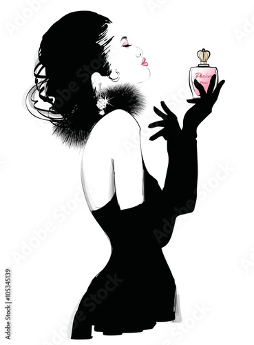 Photo sur Toile Art Studio Young pretty woman advertising for perfume