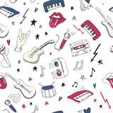 Fototapeta Młodzieżowe - Music symbols. Seamless pattern. rock music background textures,