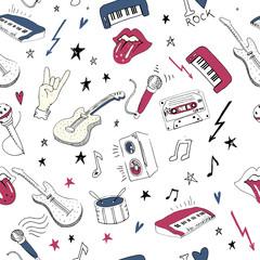 Tapeta Music symbols. Seamless pattern. rock music background textures,