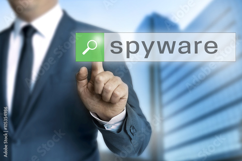 Fotografía  spyware browser is operated by businessman background