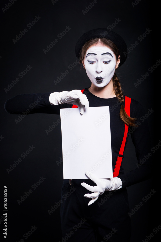 photo art print girl as mime holding a sheet of paper mime girl