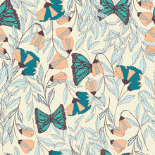 Vector Traditional Seamless Pattern With Monarch Butterflies