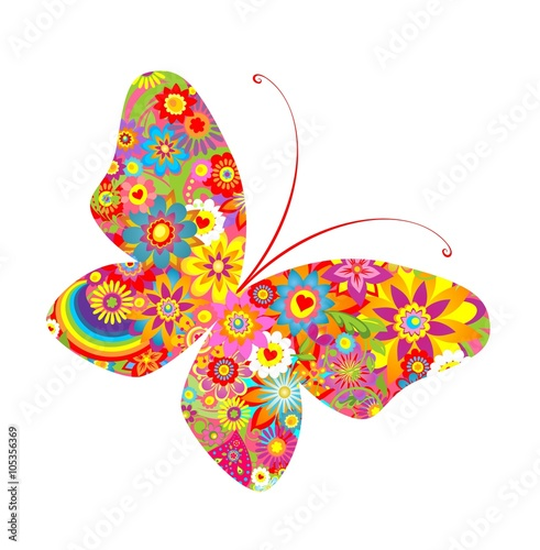 Flowers colorful print with abstract butterfly - 105356369