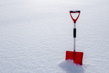Red Snow Shovel Standing In Th...