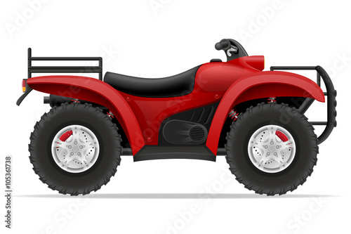 Poster Cars atv motorcycle on four wheels off roads vector illustration