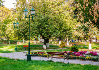 Obraz na Plexi Latarnie old city park with lantern