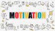 Motivation Concept. Motivation Drawn on White Wall. Motivation in Multicolor. Modern Style Illustration. Doodle Design Style of Motivation. Line Style Illustration. White Brick Wall.