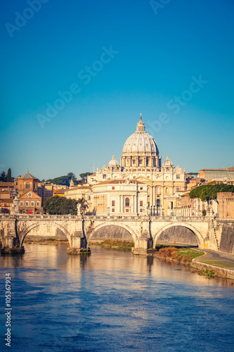 View at Tiber and St. Peter's cathedral in Rome Plakát