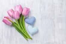 Fresh Pink Tulip Flowers And Hearts