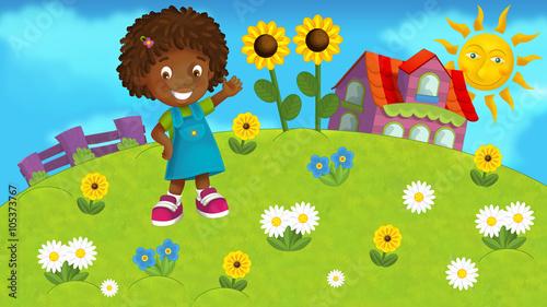 Poster Vogels, bijen Nature scene with a kid - illustration for children