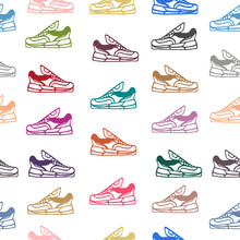 Seamless Pattern With Sneakers...