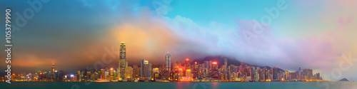 Panorama of Hong Kong and Financial district Tableau sur Toile