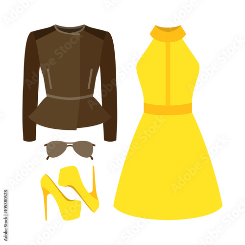 7a14b64f77993 Set of trendy women's clothes. Outfit of woman rocker jacket, dress and  accessories. Women's wardrobe. Vector illustration