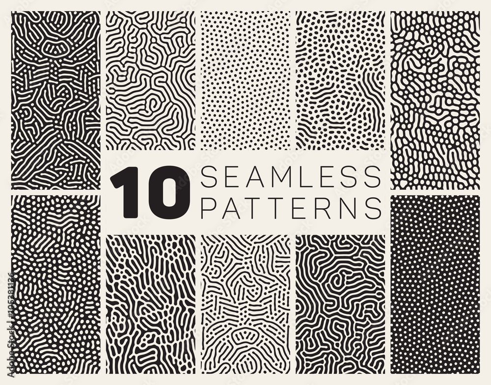 Fototapety, obrazy: Set of Ten Vector Seamless Black and White Organic Rounded Jumble Maze Lines Patterns