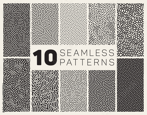 Fotografía  Set of Ten Vector Seamless Black and White Organic Rounded Jumble Maze Lines Pat