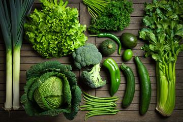 Fototapeta Composition de légumes uniquement verts sur une table en bois