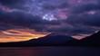 夜明けの本栖湖より霊峰富士を望む