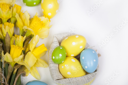 Garden Poster Narcissus Easter backgound off painted eggs and yellow flowers