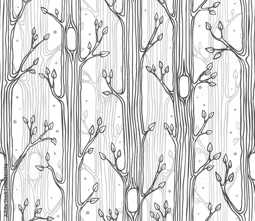 Cotton fabric Seamless pattern with trees