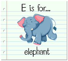 Flashcard Letter E Is For Elep...