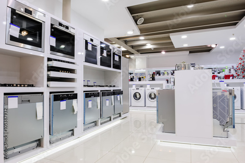 Home appliance in the store Canvas Print
