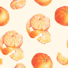 Hand Drawn Fruit Tangerines Seamless Background