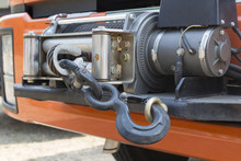 Winch On Front Of Rescue Truck