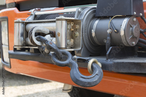 Foto winch on front of rescue truck
