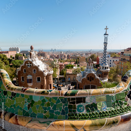 Tuinposter Barcelona Elevated view of the main entrance of Parc Guell, Antonio Gaudi's architectural masterpiece.
