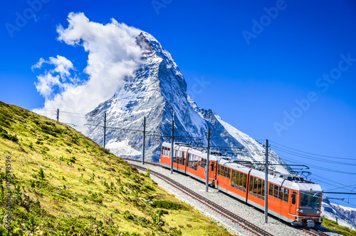 Fotografie, Obraz  Gornergrat train and Matterhorn. Switzerland