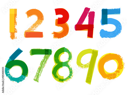 Fotografía  Handwritten Numbers on White Background - Vector Illustration