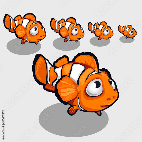 Fotografie, Obraz  Fun clown fish with big eyes, icon for your design