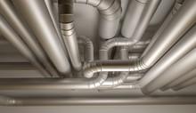 Pipes Of HVAC System. 3D Illus...