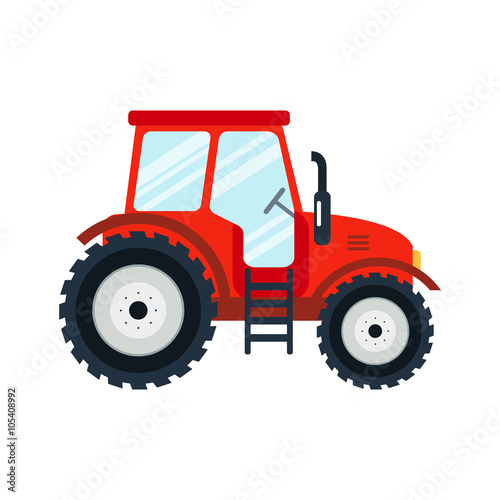 Flat tractor on white background. Red tractor icon - vector illustration. Agricultural tractor - transport for farm in flat style. Wall mural