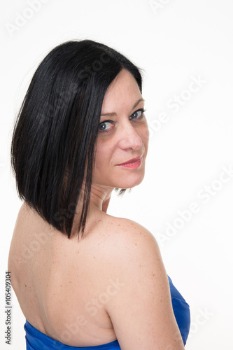 Küchenrückwand aus Glas mit Foto womenART Beautiful smiling woman portrait on white background