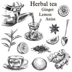 Fototapeta natural tea, lemon, ginger and star anise