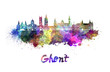 canvas print picture - Ghent skyline in watercolor