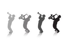 Saxophone Player And Trumpeter Silhouette On White Background. Digital Illustration, Hand Drawing.