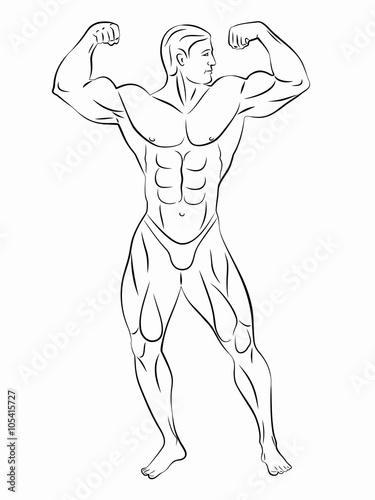 Silhouette Of Bodybuilder Vector Drawing