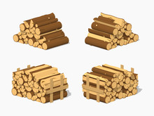 Firewood Stacked In Piles. 3D Lowpoly Isometric Vector Illustration. The Set Of Objects Isolated Against The White Background And Shown From Different Sides